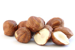 Hazelnuts on white background Royalty Free Stock Photo