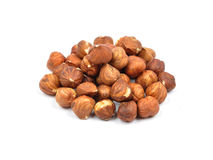Hazelnuts  on white Stock Photos
