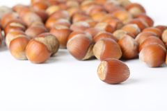 Hazelnuts on white surface Stock Photo