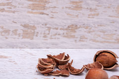 Hazelnuts on white wooden background Royalty Free Stock Photography
