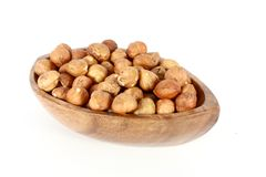 Hazelnuts in a wood bowl Stock Photography