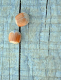 Hazelnuts on Wooden background with flowers Stock Image
