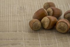 Hazelnuts on a wooden base. Autumn ts, hazelnuts in shell on a wooden base Stock Images