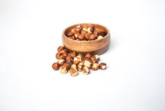 Hazelnuts in a Wooden Bowl Royalty Free Stock Image