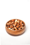 Hazelnuts in a Wooden Bowl Stock Images