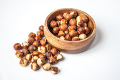 Hazelnuts in a Wooden Bowl Stock Image