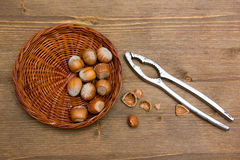 Hazelnuts on wooden nutcracker Stock Image