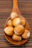 Hazelnuts on a wooden spoon on a bamboo mat Royalty Free Stock Photo