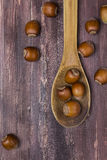 Hazelnuts. In a wooden spoon on a wooden background Royalty Free Stock Photography