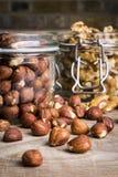 Hazelnuts z orzechami włoskimi i słojami - 4 Obraz Stock