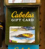 An image of a fishing-themed Cabela`s gift card, Father`s Day idea stock photos