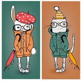 Hazen en kat in warme kleren vector illustratie