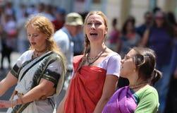 Hazen Krishna Followers Singing/de Dagen van India in Zagreb royalty-vrije stock afbeelding