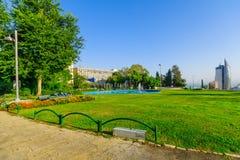 HaZikaron memorial Garden, in Haifa. HAIFA, ISRAEL - OCTOBER 27, 2017: View of HaZikaron memorial Garden, with visitors, in Haifa, Israel stock images