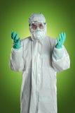 Hazmat衣服的科学家 免版税库存图片