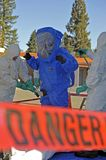 Hazmat crew. Hazmat technicians scrub down hazmat worker Stock Photography