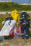 Hazmat team members have been wearing protective suits to protect them from hazardous materials Royalty Free Stock Photography