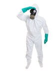 Hazmat worker. Man in biohazard suit on a white background Royalty Free Stock Photos