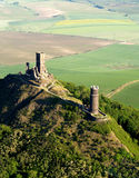 Hazmburk air photo. The ruins of castle Hazmburk in the Czech Republic Stock Photo