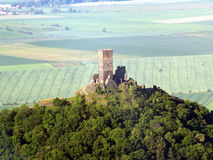 Hazmburk air photo. The ruins of castle Hazmburk in the Czech Republic Royalty Free Stock Photos