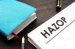 HAZOP hazard and operability study documents stock images