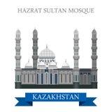 Hazrat sułtanu meczet w Astana Kazachstan wektorowym płaskim przyciąganiu Obraz Royalty Free