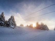 Hazy dieing sun on a ski slope with snow covered trees Stock Photography
