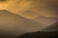 Hazy evening view of the Blue Ridge Mountains seen from the Blue Royalty Free Stock Images