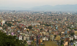Hazy Kathmandu Valley, Nepal. Capital of Nepal, and the most populated city  with  Seven World Famous Heritage sites listed in UNESCO Stock Photo