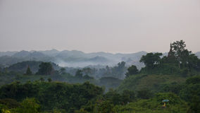 Hazy landscape at Mrauk U, Myanmar Royalty Free Stock Photo