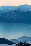 Hazy morning mountains royalty free stock image