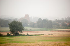 Hazy morning with trees and a church Royalty Free Stock Image