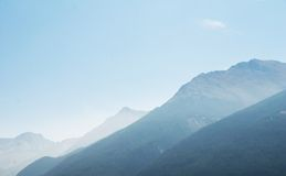 Hazy mountains in France. Hazy-blue mountains in Aussois, France Royalty Free Stock Photo