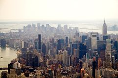 Hazy New York City skyline. An aerial view of the Manhattan skyline and the Empire State Building in New York City Royalty Free Stock Photography