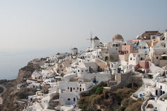 Hazy panorama of Santorini island, Ia Stock Photography