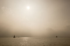Hazy ships on the horizon Stock Image
