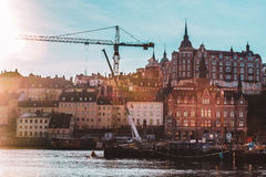 Hazy Shot Of Colorful Nordic Houses Of Stockholm, Sweden Stock Image