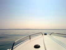 Hazy sky of a boat Stock Images