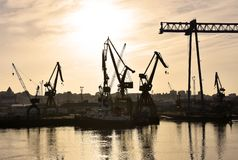 Hazy sky over industrial port of Huelva Spain stock photos