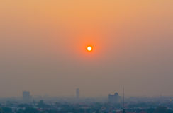 Hazy skyline of Chiang Mai City ,Thailand  smog covering buildin Royalty Free Stock Photos