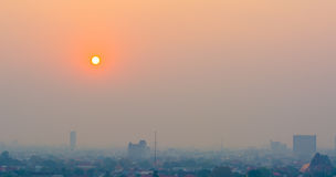 Hazy skyline of Chiang Mai City ,Thailand  smog covering buildin Royalty Free Stock Images