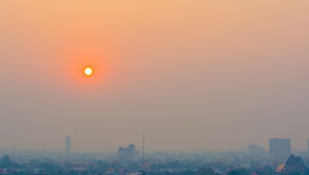 Hazy skyline of Chiang Mai City ,Thailand  smog covering buildin Stock Image