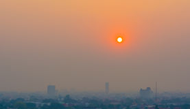 Hazy skyline of Chiang Mai City ,Thailand  smog covering buildin Stock Photos