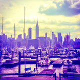 Hazy Summer Manhattan Skyline Royalty Free Stock Images