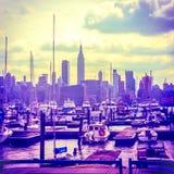 Hazy Summer Manhattan Skyline Royalty Free Stock Images