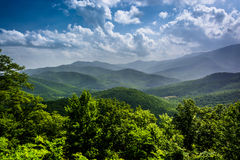 Hazy summer view of the Appalachian Mountains from the Blue Ridg Stock Photos