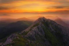 Hazy sunset in Anboto mountain range Royalty Free Stock Image