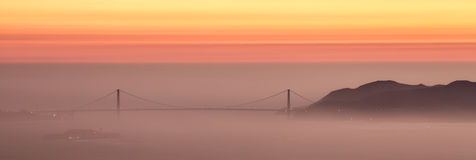 Hazy Sunset Over Golden Gate Bridge, San Francisco. Stock Photo