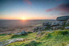 Hazy Sunset over Helman Tor Stock Photos