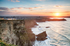 Hazy Sunset over Newquay in Cornwall Royalty Free Stock Image